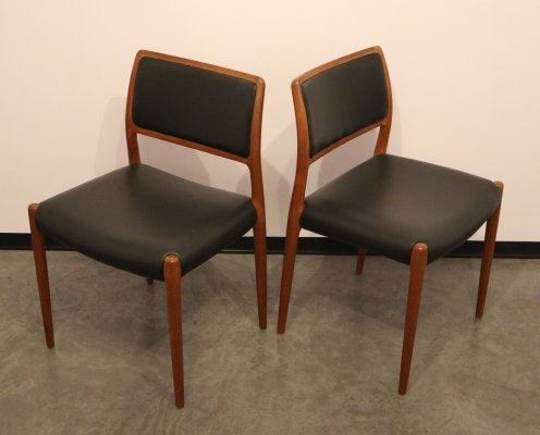 Set of 2 'Model 80' chairs in teak & black leather by Niels O. Møller, 1950's
