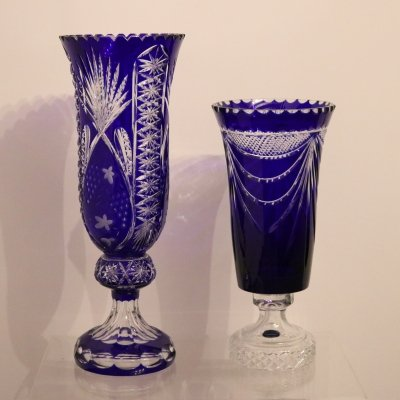 2 large handmade & mounth-blown crystal vases 'Les Grands Ducs', France 1950s