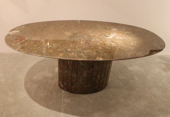 Oval dining table in brown/green Italian marble, 1970's