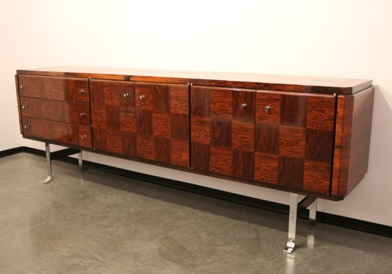 Custom-made sideboard in rosewood, doors & drawers with inlay, Belgium 1960's