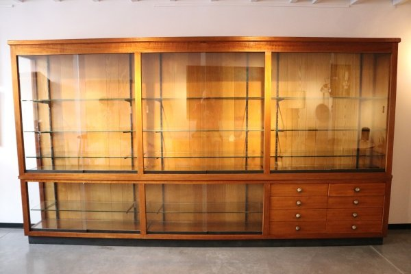 Custom-made XL display cabinet in mahogany, Belgium 1960's