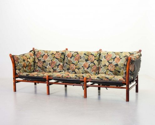 Arne Norell 3-Seat 'Ilona' Sofa in Autumn Leaves Fabric by Aneby Möbler, Sweden 1960s