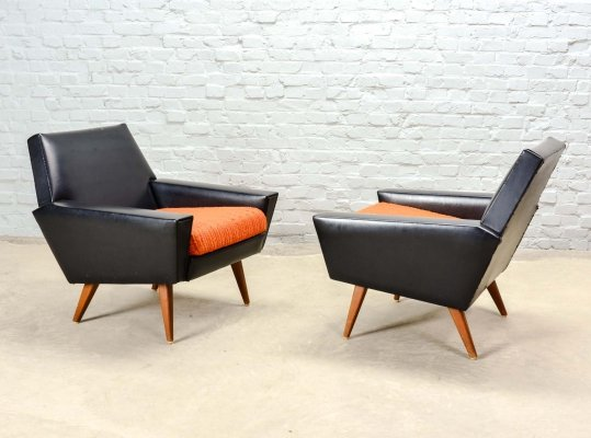 Piet Klerkx Rock & Roll Lounge Chairs in Orange & Black Leatherette, 1960s