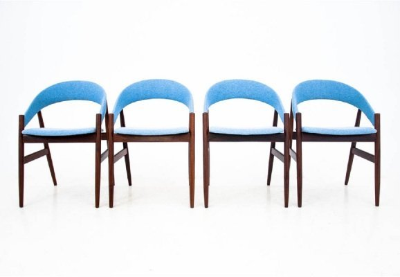 Set of 4 Blue Danish Dining Chairs, 1960s