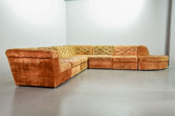 Laauser Modular Lounge Sofa in Orange Copper Velvet with 7 Elements, 1970s