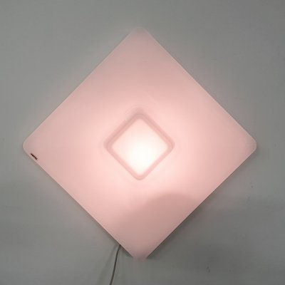 White plexiglass square IGuzzini wall or ceiling light, Italy 1970's
