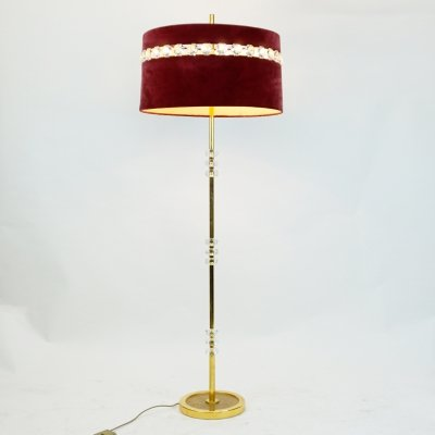 Austrian Midcentury Brass & Crystal Glass Floor Lamp with Red Velvet Shade