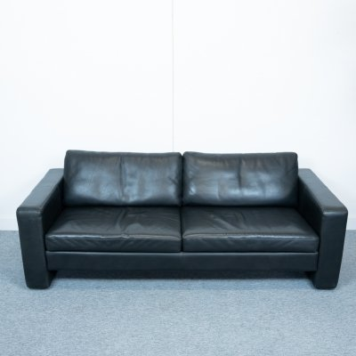 Black Leather Conseta sofa by Friedrich Wilhelm Möller for COR, 1980s