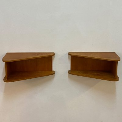 Pair of teak wall night stands, Denmark 1960s