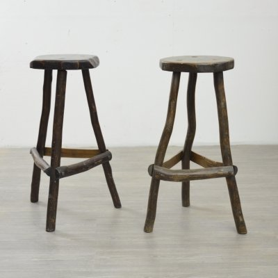 Pair of Primitive Bar Stools, 1950s