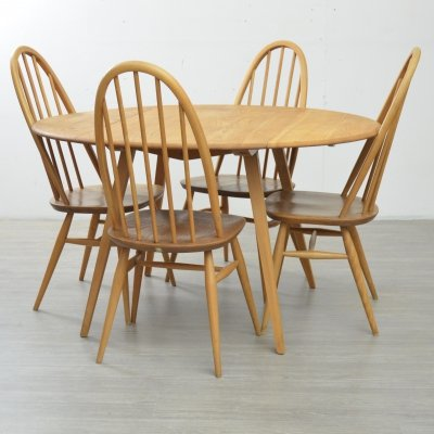 Ercol Drop Leaf Table & Four Chairs, 1970s
