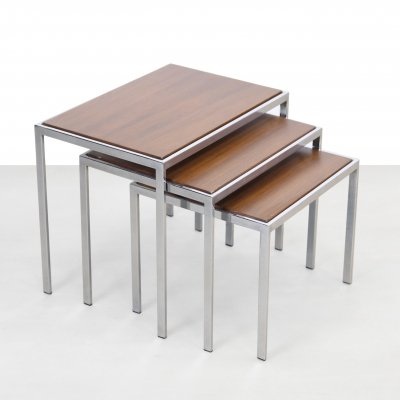 Chrome set of nesting tables with reversible top in Teak & Formica