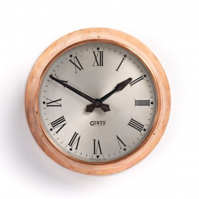 Small 10' copper factory clock by Gents of Leicester