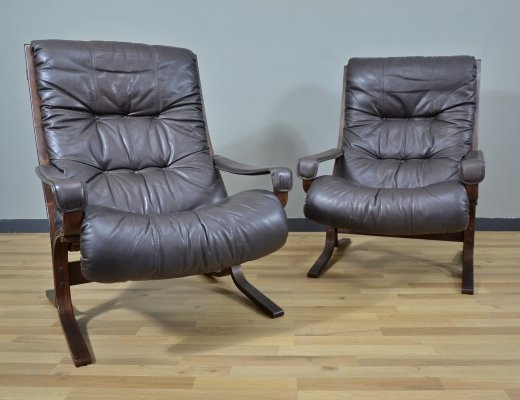 Dark brown leather 'Siesta' Lounge Chair by Ingmar Relling for Westnofa, 1960s