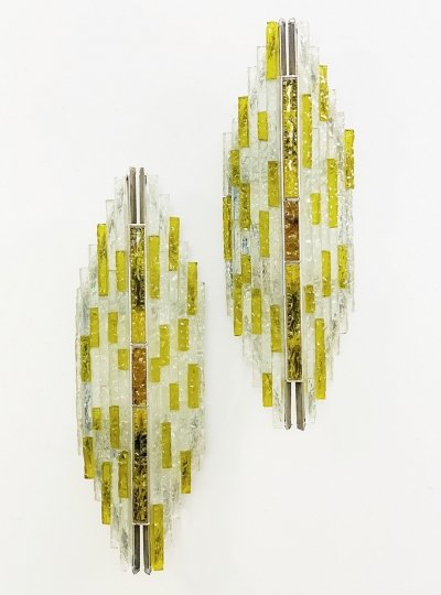 Pair of Brutalist Sconces by Albano Poli for Poliarte, 1970s