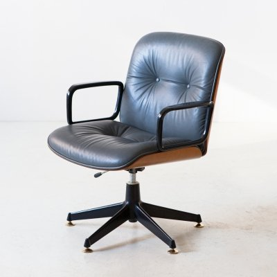 Grey leather & walnut chair by Ico Parisi for MIM, 1960s