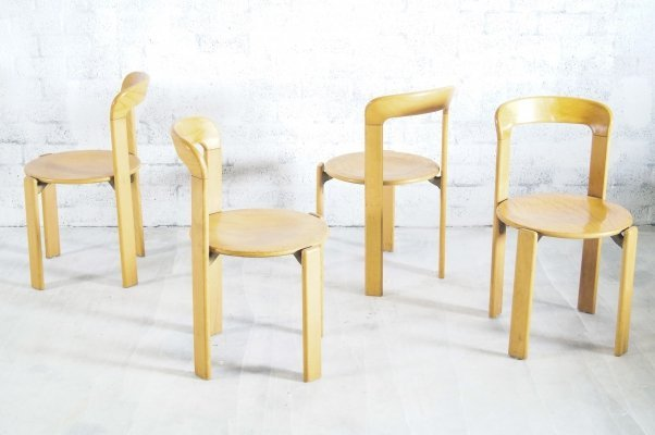 Set of 4 Bruno Rey for Kusch & Co Dining Chairs, 1970's