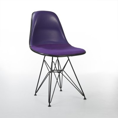 Purple Upholstered Herman Miller Original Vintage Eames Black DSR Dining Chair