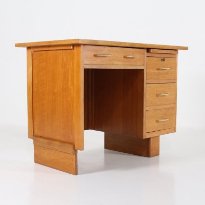 Modernist blond oak middle desk, France 1950's