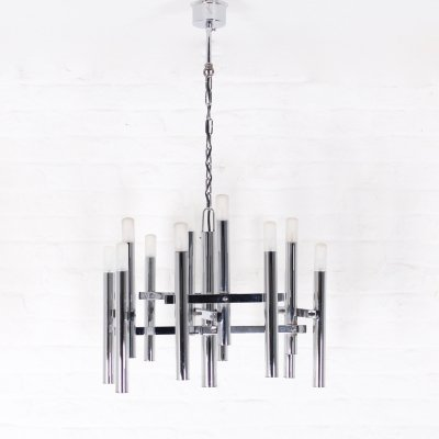Chromed steel chandelier with 12 lights by Gaetano Sciolari, 1970's