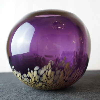 Amethyst & Gold Color Murano Glass Vase, 1960s
