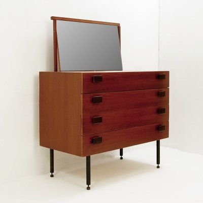 Italian Chest of Drawers In Teak With Retractable Mirror