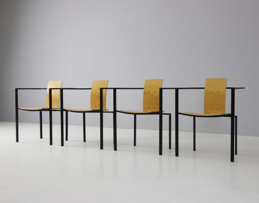 Set of 4 postmodern dining chairs, 1980s