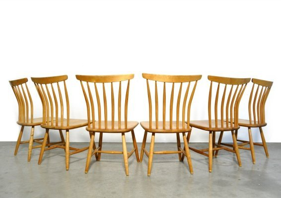 Set of 6 Birch wood dining chairs by Bengt Akerblom & Gunnar Eklof, Sweden 1954