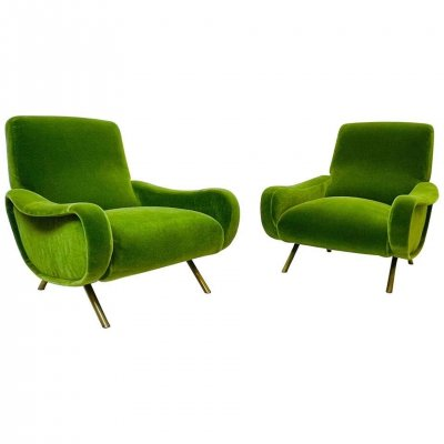 Pair of Marco Zanuso Lady Armchairs for Arflex, 1950s