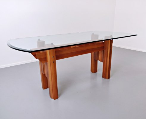 Italian Dining Table in Wood And Glass By Franco Poli For Bernini, 1979