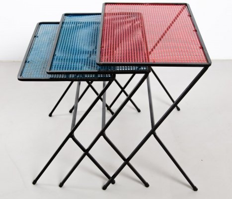 Set of three nesting tables with blue & red colors, 1950s