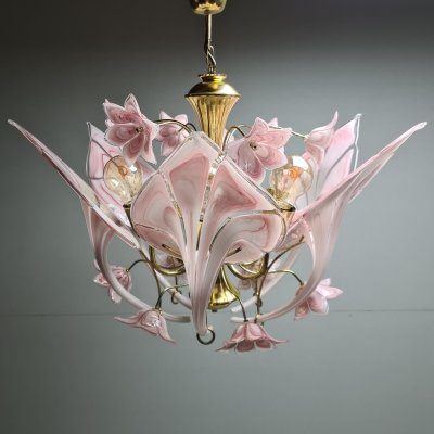 Gold-plated chandelier with Murano glass calla lily flowers