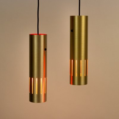 Pair of Trombone Ceiling Lights by Jo Hammerborg, Denmark 1960s