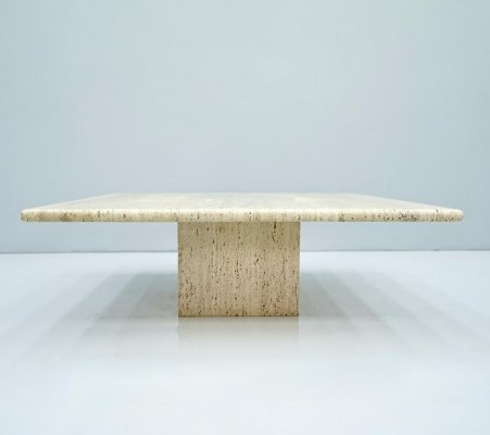 Low Square Travertine Coffee Table, 1970s