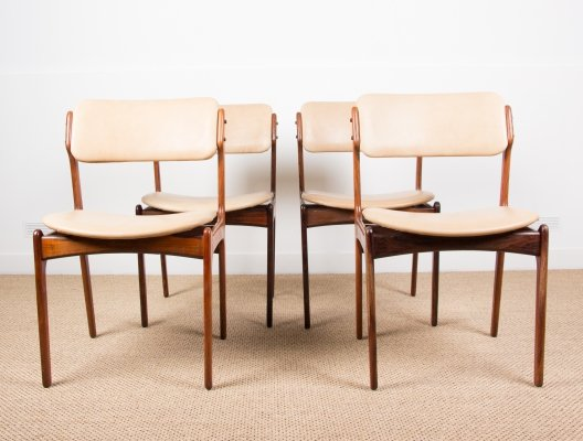 Set of 4 Danish Rosewood & Leather dining chairs by Erik Buck for Oddense Maskindustri