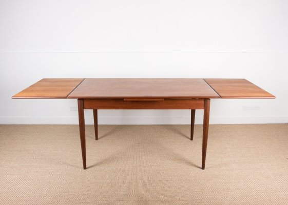 Large extendable Danish Teak Dining table by Johannes Andersen with two Italian extensions, 1960s
