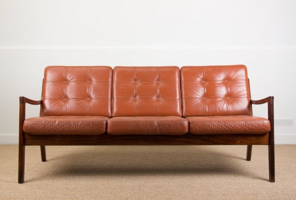 3 seats Danish Rosewood & Leather sofa by Ole Wanscher, 1960s