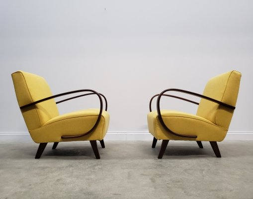 1930 Jindrich Halabala Bentwood Armchairs in Yellow Tweed