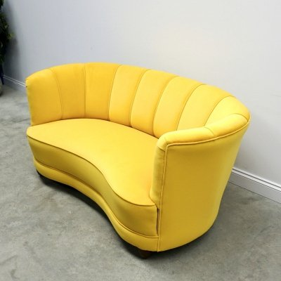 Mid Century Danish Banana Curved Sofa in Yellow Velvet, 1950's