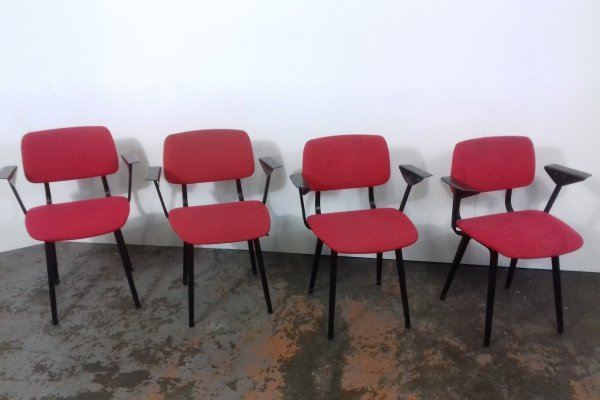 Set of 4 Revolt dining chairs by Friso Kramer for Ahrend, 1960s