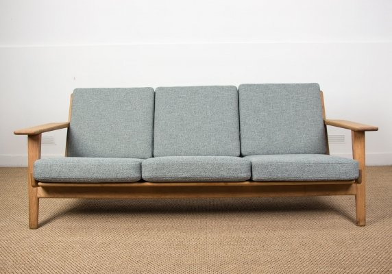 Danish Oak & Fabrik 3 seats Sofa by Hans Wegner