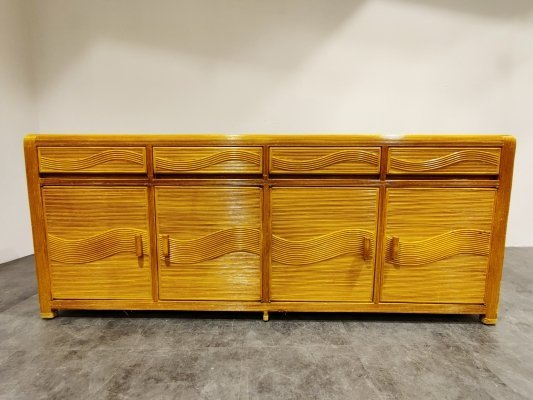 Vintage rattan & bamboo sideboard, 1970s