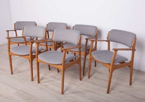 Set of 6 Model 49 Oak Armchairs by Erik Buch for O.D. Mobler, 1960s