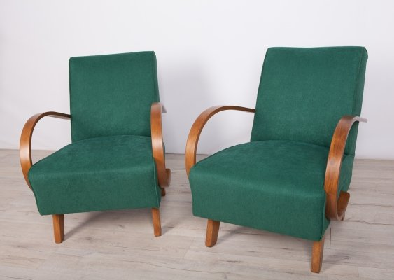 Pair of Model 410 Armchairs by Jindřich Halabala for UP Závody, 1950s