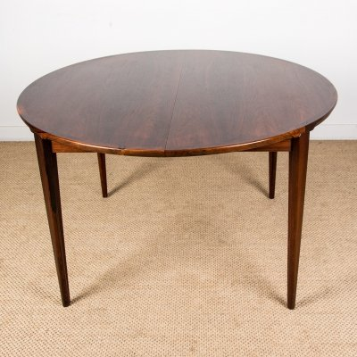 Large extendable Danish Rio Rosewood Dining Table by Henry Rosengren Hansen