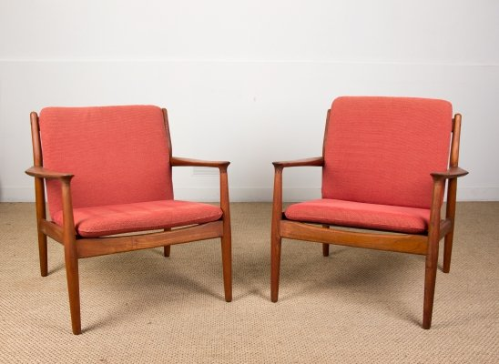 Pair of Danish Teak & Fabric Armchairs by Svend Aage Eriksen for Glostrup