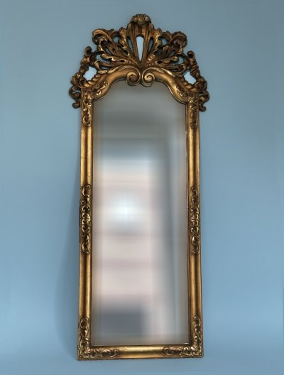 Large Art Deco Carved Gilt wood Penant Mirror, 1930s