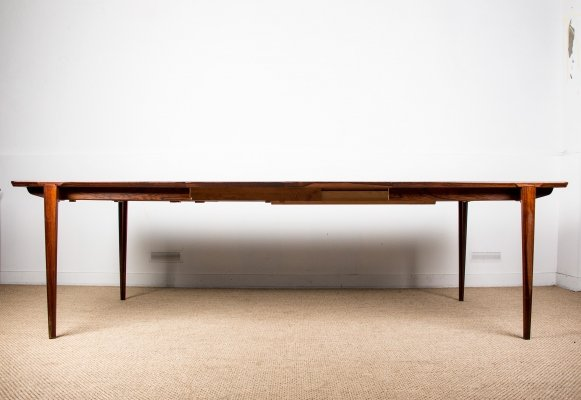 Extendable Brazilian Rosewood Dining Table by Henry Rosengren Hansen