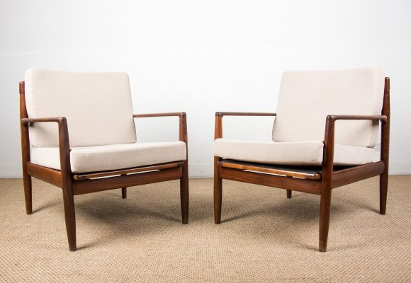 Pair of Danish Teak Armchairs by Ib Kofod Larsen, 1960s