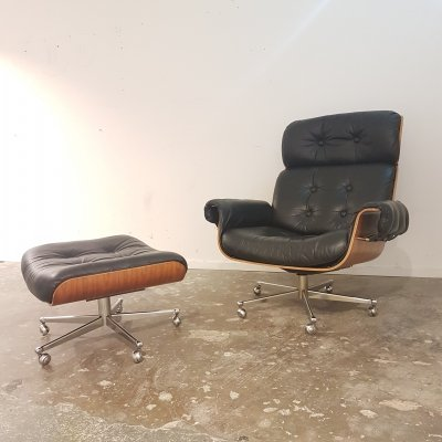 Vintage mid century Lounge Chair with Hocker by Martin Stoll for Giroflex, 1960s